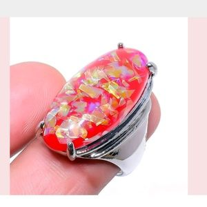 Dichroic Glass Gemstone 925 Ring